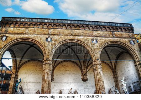 Loggia De Lanzi In Florence Under A Blue Sky
