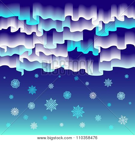 Northern Lights. Abstract Vector Background Merry Christmas
