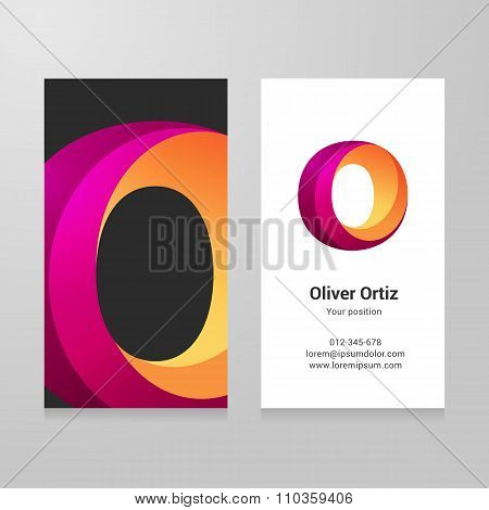 Modern Letter O Twisted Business Card Template