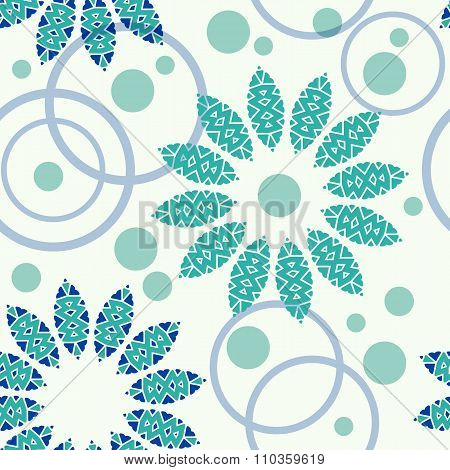 Geometric pattern of circles and flowers