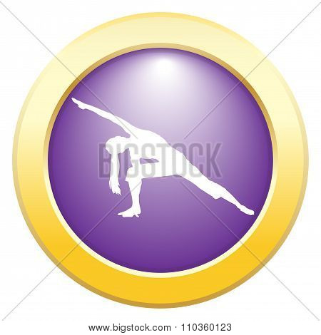 Yoga Extended Angle Pose Purple Icon