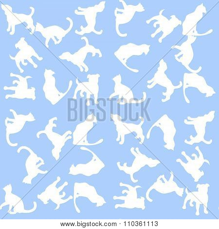 Illustration Background With Dogs And Cats. Seamless Pattern.