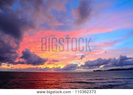 Colorful Sky Over Capo Caccia At Sunset