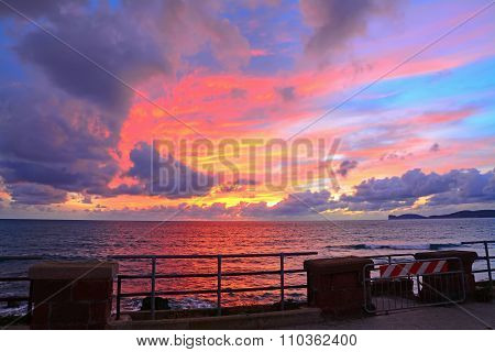 Colorful Sunset In Alghero Seafront