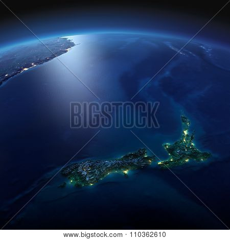 Detailed Earth. New Zealand On A Moonlit Night