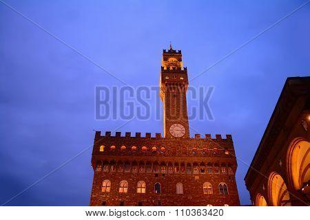 Palazzo Vecchio And Loggia De Lanzi By Night
