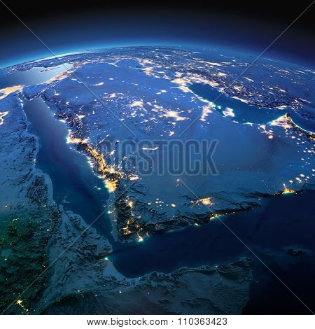 Detailed Earth. Saudi Arabia On A Moonlit Night