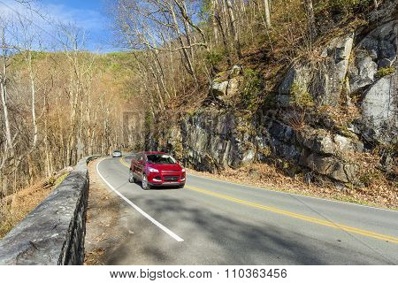 Red Car On A Winding Road - Smoky Mountains