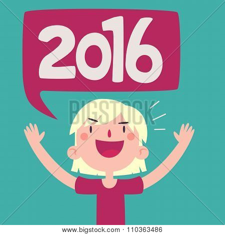 Cartoon Girl Celebrating The New Year 2016