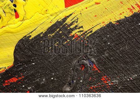 Brushstroke - Yellow,black And Red Paint  On Metal Surface