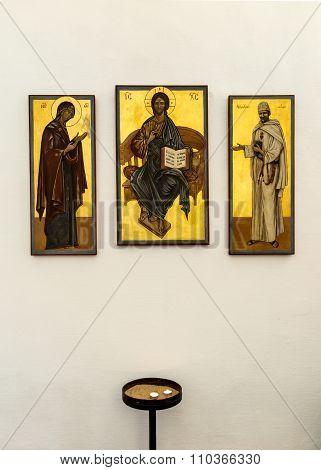 Nazaret, Israel July 11, 2015: Icon Of Blessed Charles De Foucauld (1858 -1916 Eugene) Next To The I