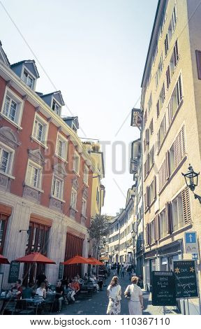 ZURICH, SWITZERLAND-June 21: Beautiful street view of Traditional old buildings in Zurich, the Switzerland. June 21, 2014 in ZURICH