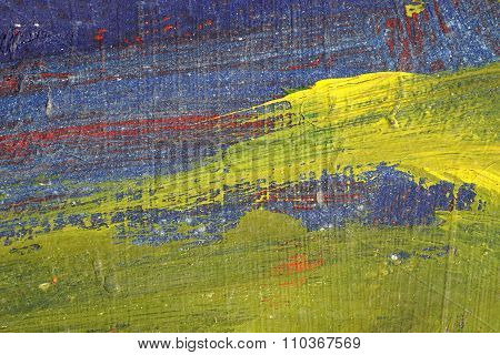 Brushstroke - Yellow,blue And Red Paint  On Metal Surface