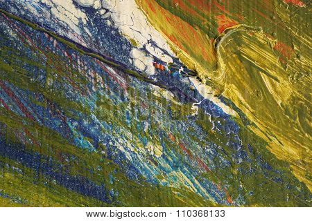 Brushstroke - Yellow,blue,green,red Paint  On Metal Surface