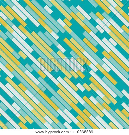 Vector Seamless Parallel Geometric Rectangle Diagonal Lines Pattern In Teal And Yellow