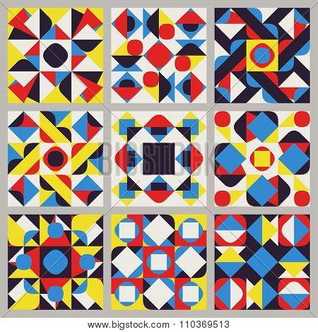 Set Of Nine Vector Seamless Blue Red Yellow White Color Retro Geometric Ethnic Square Quilt Pattern