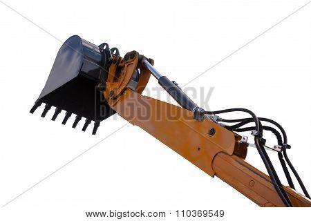 Detail of hydraulic bulldozer piston excavator arm on white