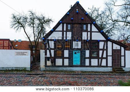 Klaipeda Puppet Theater front view. Traditional half-timbered building in the Old Town district