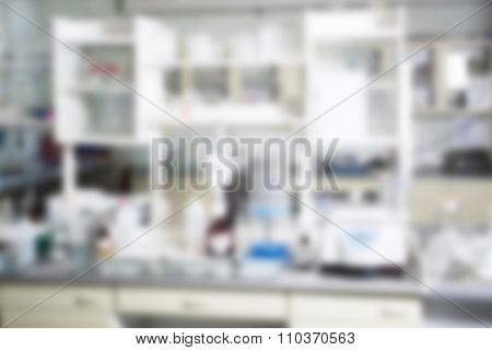 Chemical laboratory blur background on white tone.