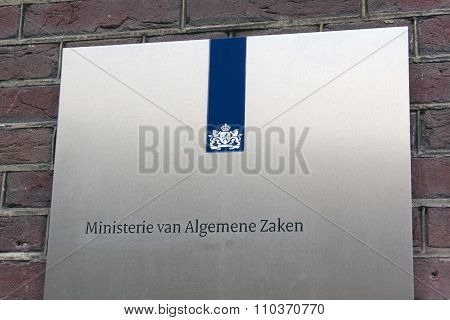 Sign Of The General Affairs Department  In The Hague Netherlands