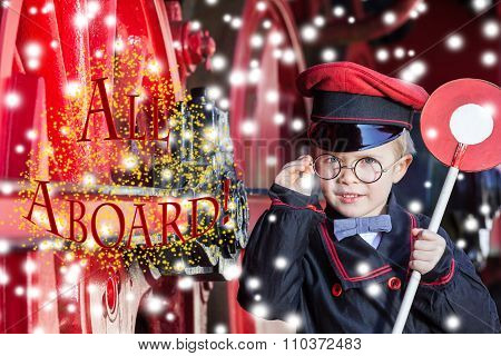 Smiling Train Conductor Boy in Winter - All Aboard