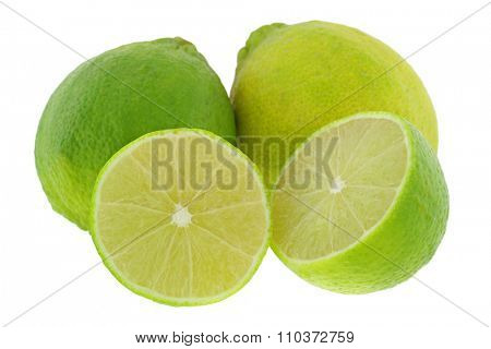Closeup of huge seedless Tahiti hybrid lemons isolated on white background