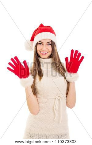 Young Santa woman smiling and waving