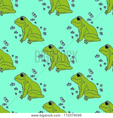 Illustration Green Frog With Butterflies, Background. Seamless Pattern.