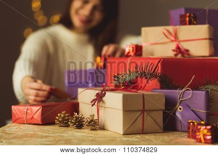 Lady Unpacking Christmas Present