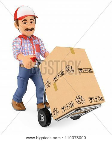 3D Courier Delivery Man Pushing A Hand Truck With Boxes