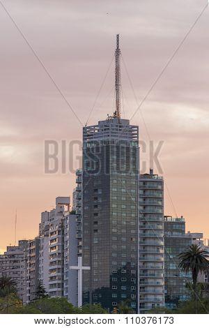 Montevideo Sunset Urban Scene