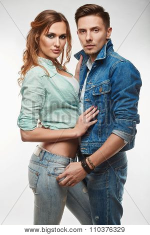 Portrait Of Fashion Glamor Stylish Swag Young Couple