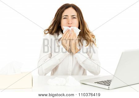 Business Woman With Flu