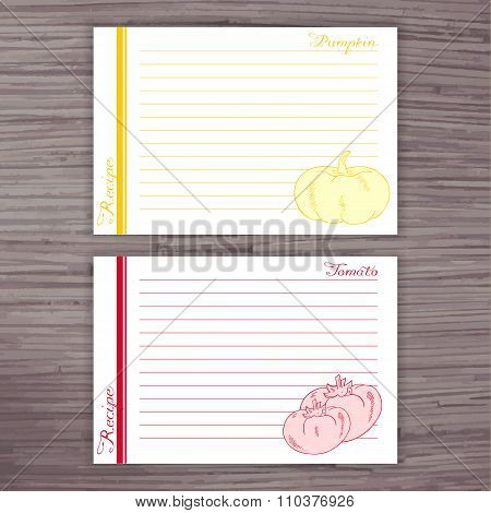 Vector Lined Recipe Card With Vegetables On Wooden Background. Pumpkin, Tomato
