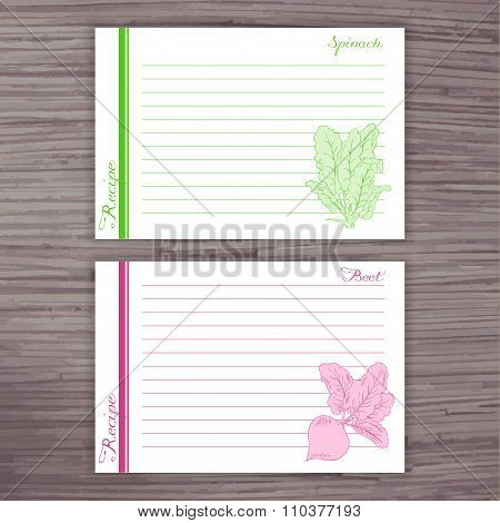 Vector Lined Recipe Card With Vegetables On Wooden Background. Spinach, Beet