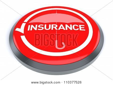 Red Insurance Button, Isolated On White Background.