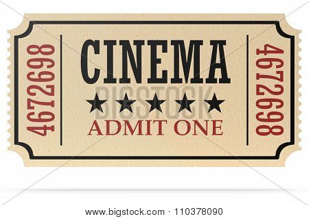 Retro Cinema Ticket Isolated With Shadow