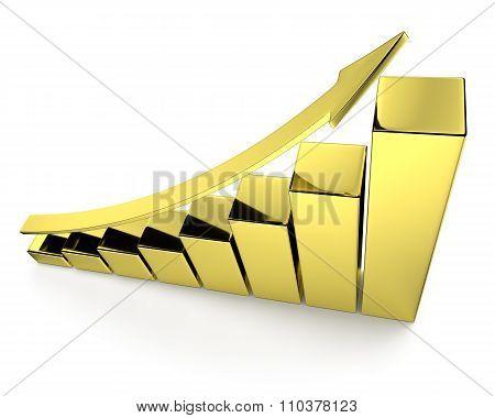 Golden Bar Chart With Arrow Top View