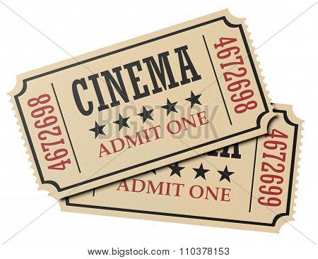 Pair Of Retro Cinema Tickets Isolated