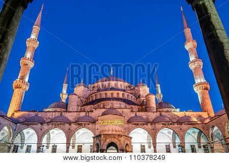 The Blue Mosque at dusk in Istanbul, Turkey.
