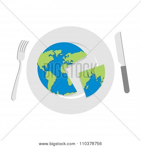 Earth On Plate. Globe Cut With A Knife. Cutlery: Knife And Fork. Globe Food. Political Kitchen.