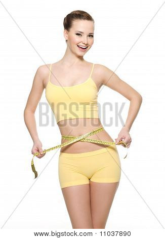 Woman Measuring Waist With  Measurement Type