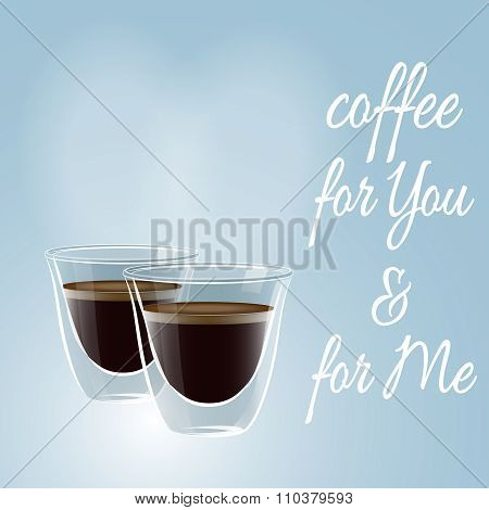 Couple glass coffee cups on a blue background