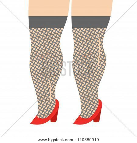 Female Legs In Stockings And Red Shoes. Legs Girl Prostitute, Whore