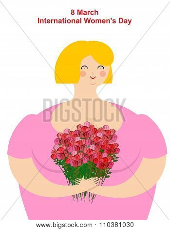 8 March. Girl With Flowers. Merry Happy Women And Bouquet Of Roses. International Women's Day. Postc