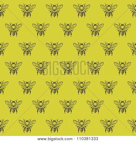 seamless pattern with honey bees on a yellow background