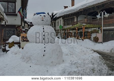 Big snow-man at street in Bansko town
