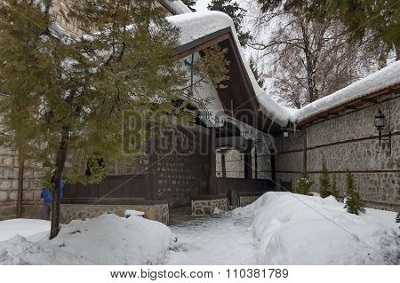 Entrance of church in Bansko town