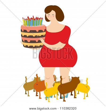 Sad Woman Of Forty And Birthday Cake. Fat  Lonely Lady. Only Cats. Sad Holiday Alone. Many Of Pets.