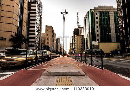 SAO PAULO, CIRCA MAY 2015: Sunset over Paulista Avenue in Sao Paulo, Brazil